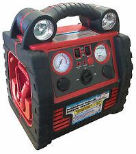 Emergency Jumpstart & Inverter Compressor in red and black with lights and gauges